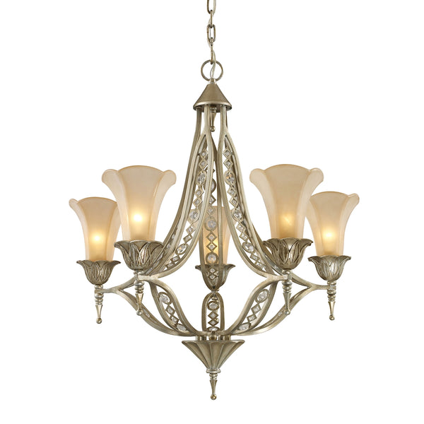 Chelsea 5 Light Chandelier In Aged Silver And Beige Frosted Glass
