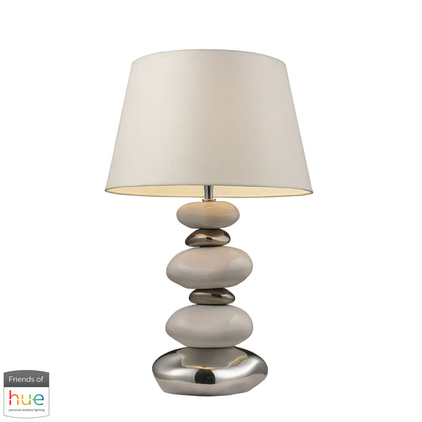 Beautiful Dimond Lighting  Elemis Table Lamp in Pure White and Chrome - with Philips Hue LED Bulb/Bridge  in  Ceramic