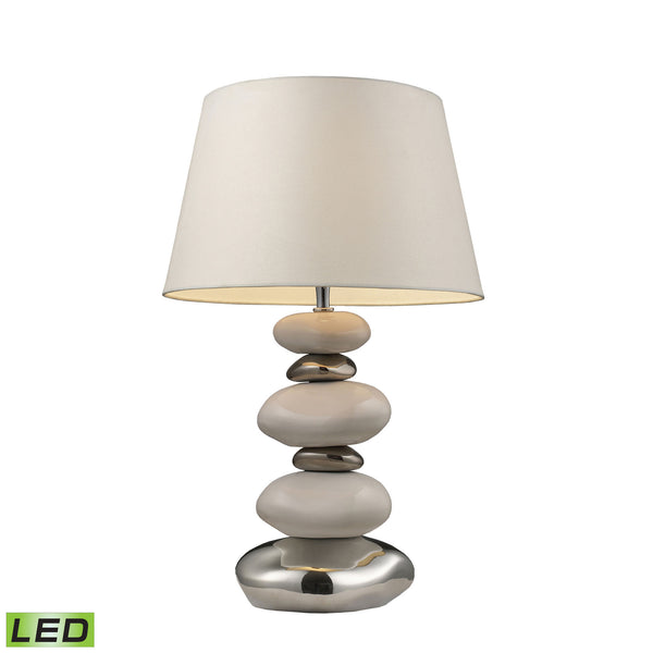 Beautiful Dimond Lighting  Mary-Kate And Ashley Elemis LED Table Lamp In White And Chrome  in  Ceramic