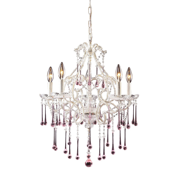 Opulence 5 Light Chandelier In Antique White And Rose Crystal