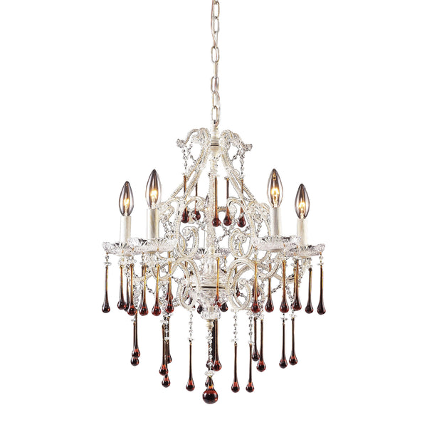 Opulence Amber Crystal Set For 5 Light Chandelier