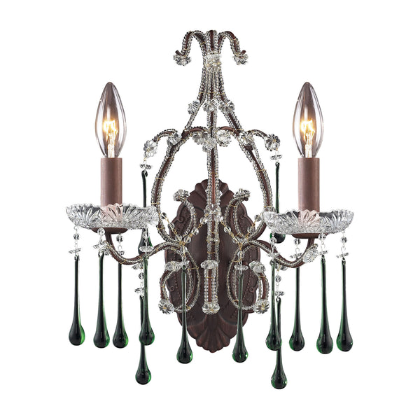 Opulence 2 Light Wall Sconce In Rust And Lime Crystal