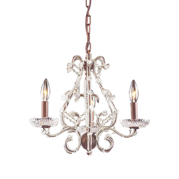 Opulence 3 Light Chandelier Frame In Rust