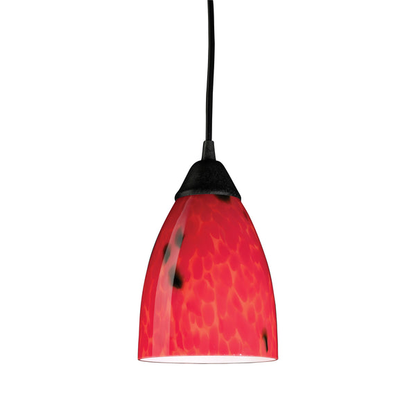 Classico 1 Light LED Pendant In Dark Rust And Fire Red Glass