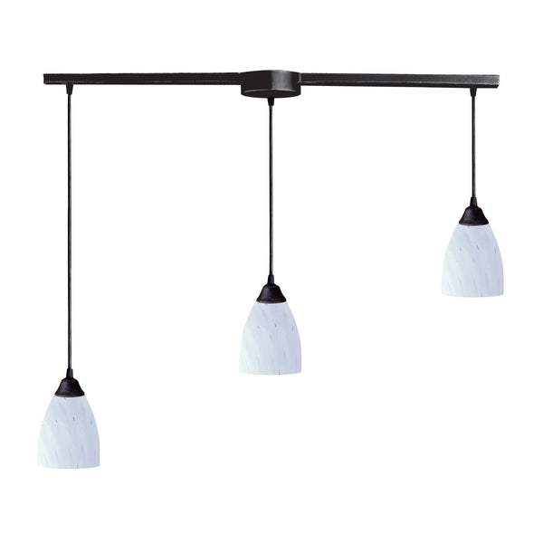 Classico 3 Light Pendant In Dark Rust And Simply White Glass