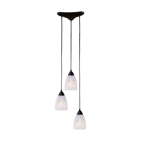 Classico 3 Light Pendant In Dark Rust And Snow White Glass