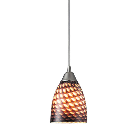 Arco Baleno 1 Light Pendant In Satin Nickel And Coco Glass