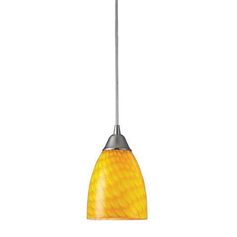 Arco Baleno 1 Light LED Pendant In Satin Nickel And Canary Glass