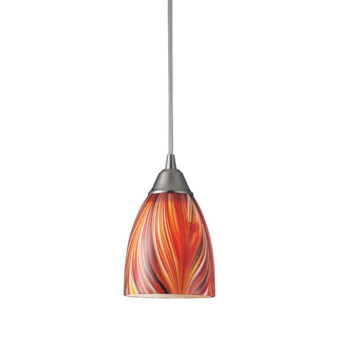 Arco Baleno 1 Light LED Pendant In Satin Nickel And Multi Glass