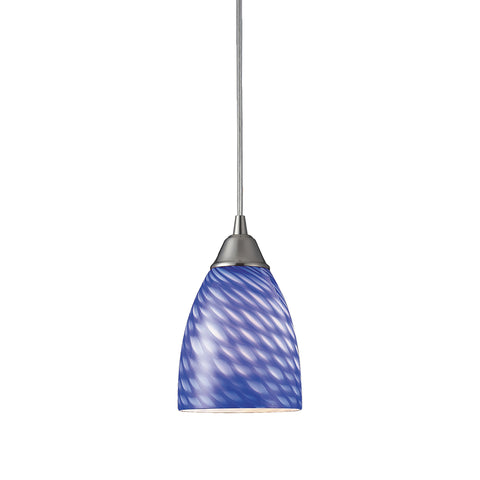 Arco Baleno 1 Light Pendant In Satin Nickel And Sapphire Glass