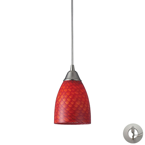 Arco Baleno 1 Light Pendant In Satin Nickel And Scarlet Red Glass With Adapter Kit