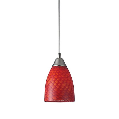Arco Baleno 1 Light LED Pendant In Satin Nickel And Scarlet Red Glass