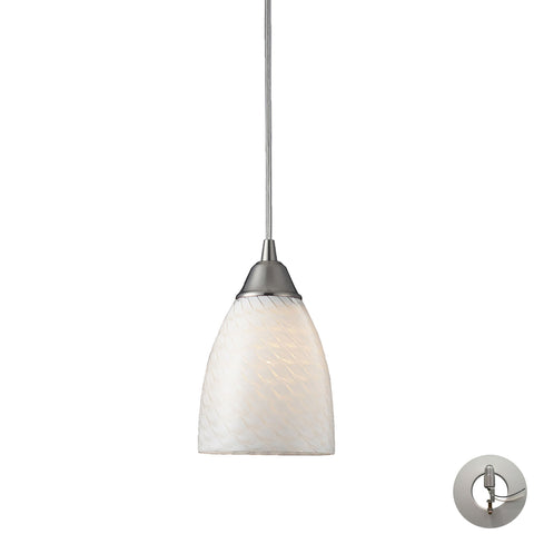 Arco Baleno 1 Light Pendant In Satin Nickel And White Swirl Glass With Adapter Kit