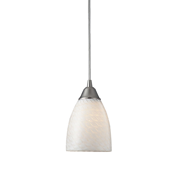 Arco Baleno 1 Light Pendant In Satin Nickel And White Swirl Glass