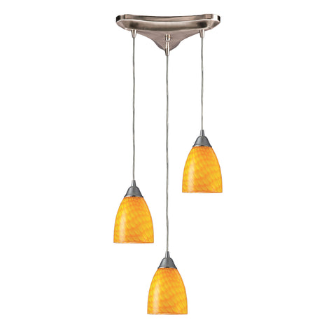 Arco Baleno 3 Light Pendant In Satin Nickel And Canary Glass
