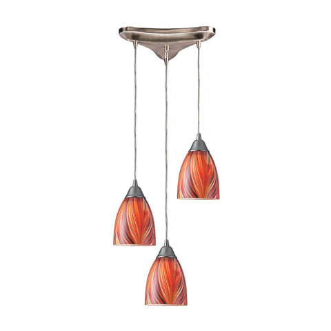 Arco Baleno 3 Light Pendant In Satin Nickel And Multi Glass