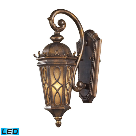 Burlington Junction 1 Light Outdoor LED Sconce In Hazlenut Bronze And  Amber Scavo Glass