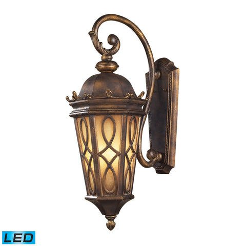 Burlington Junction 3 Light Outdoor LED Wall Sconce In Hazlenut Bronze And  Amber Scavo Glass