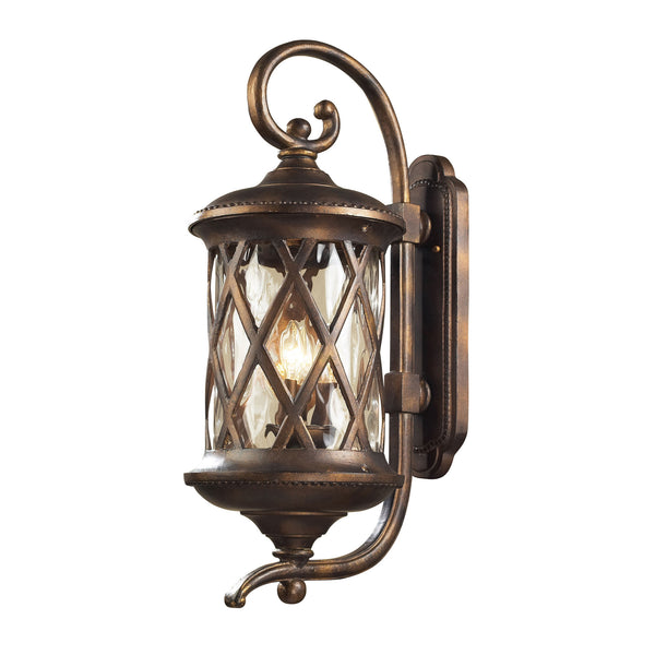 Barrington Gate 3 Light Outdoor Sconce In Hazlenut Bronze And Designer Water Glass