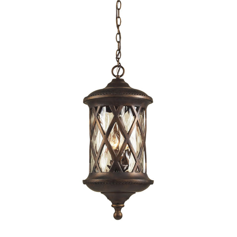 Barrington Gate 3 Light Outdoor Pendant In Hazlenut Bronze And Designer Water Glass