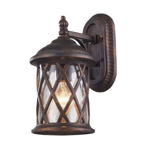 Elk Barrington Gate 1 Light Outdoor Sconce In Hazlenut Bronze And Designer Water Glass Outdoor Wall item number 42035/1