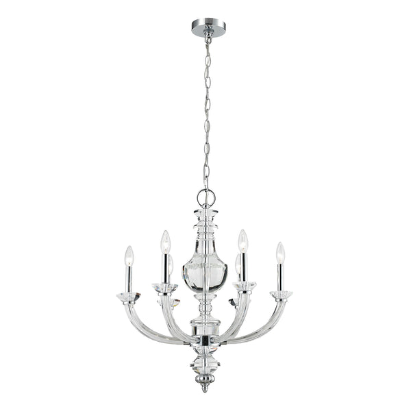Donaldson 6 Light Chandelier In Polished Chrome And Clear Crystal