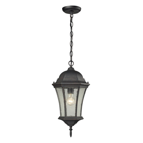 Wellington Park 1 Light Outdoor Pendent In Weathered Charcoal