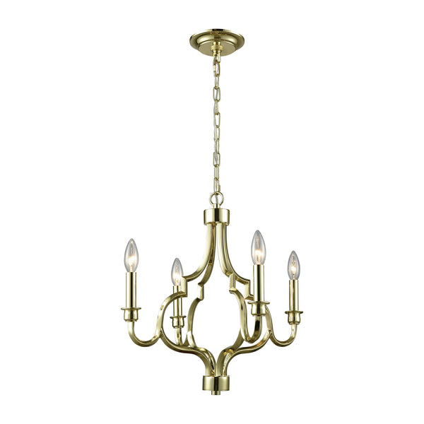 Livonia 4 Light Chandelier In Polished Gold