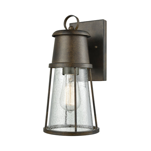 ELK Lighting  Crowley 1 Light Outdoor Wall Sconce in Hazelnut Bronze with Clear Seedy Glass