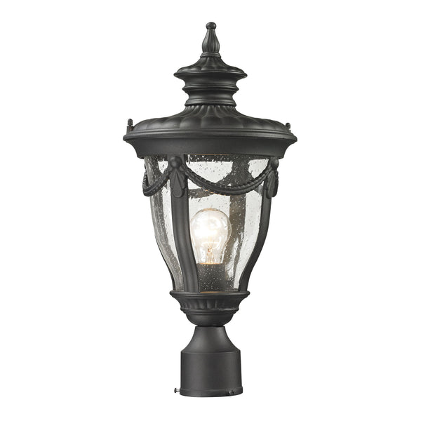Anise 1 Light Outdoor Post Light In Textured Matte Black