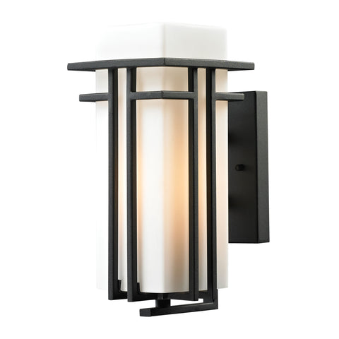 ELK Lighting  Croftwell Collection 1 light outdoor sconce in Textured Matte Black