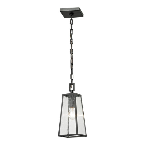 Meditterano 1 Light Outdoor Pendant In Textured Matte Black