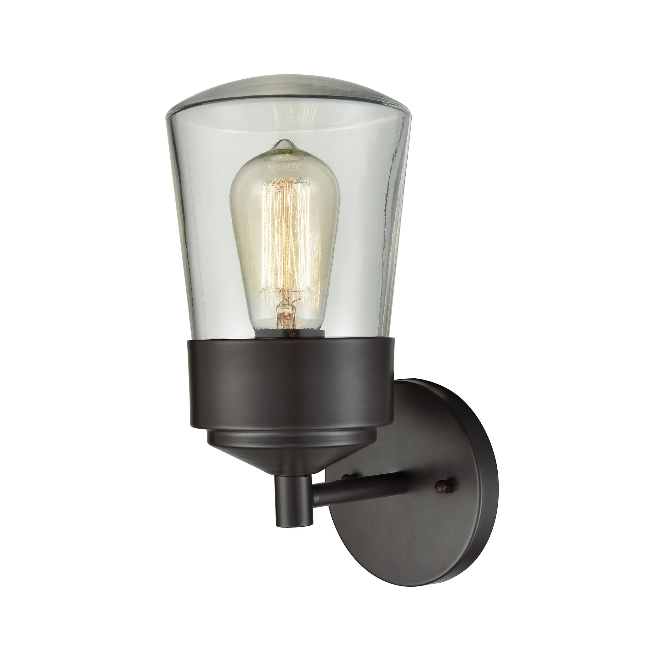 Mullen Gate 1 Light Outdoor Wall Sconce In Oil Rubbed Bronze With Clear Glass