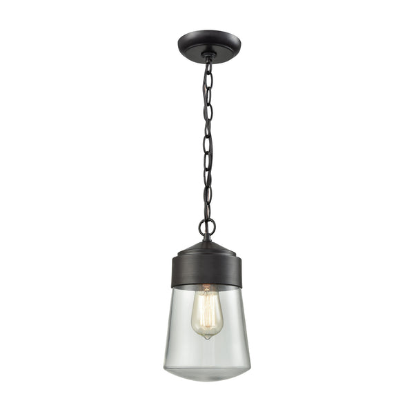 Mullen Gate 1 Light Outdoor Pendant In Oil Rubbed Bronze With Clear Glass