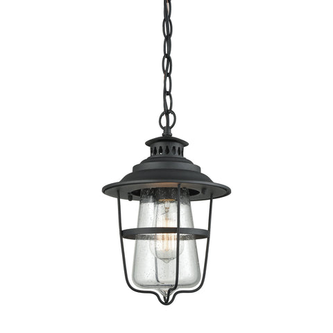 San Mateo 1 Light Outdoor Pendant In Textured Matte Black With Clear Seedy Glass