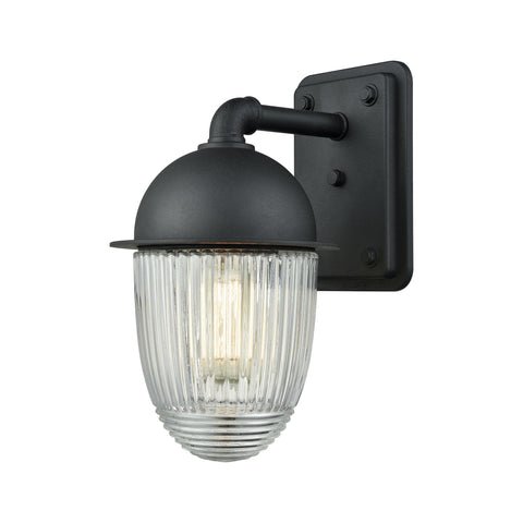 ELK Lighting  Channing 1 Light Outdoor Wall Sconce in Matte Black with Clear Ribbed Glass