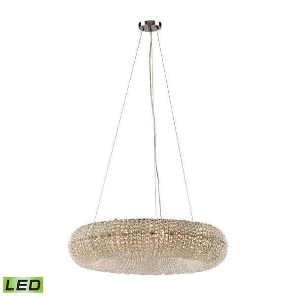 Crystal Ring 10 Light LED Chandelier In Polished Chrome