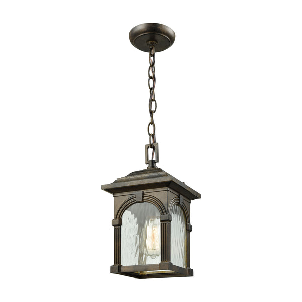 Stradelli 1 Light Outdoor Pendant In Hazelnut Bronze With Clear Water Glass