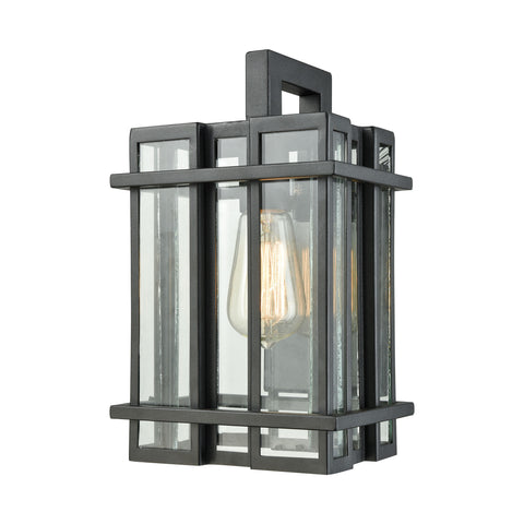 Elk Glass Tower 1 Light Outdoor Wall Sconce In Matte Black With Clear Glass Outdoor Wall item number 45314/1