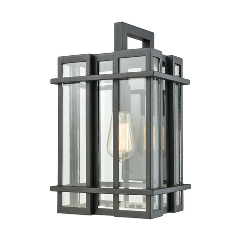 Elk Glass Tower 1 Light Outdoor Wall Sconce In Matte Black With Clear Glass Outdoor Wall item number 45315/1