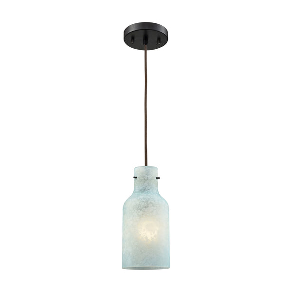 Weatherly 1 Light Pendant In Oil Rubbed Bronze With Chalky Seafoam Glass  - Includes Recessed Lighting Kit