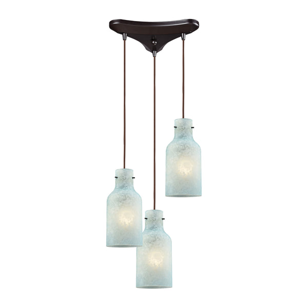 Weatherly 3 Light Triangle Pan Pendant In Oil Rubbed Bronze With Chalky Seafoam Glass