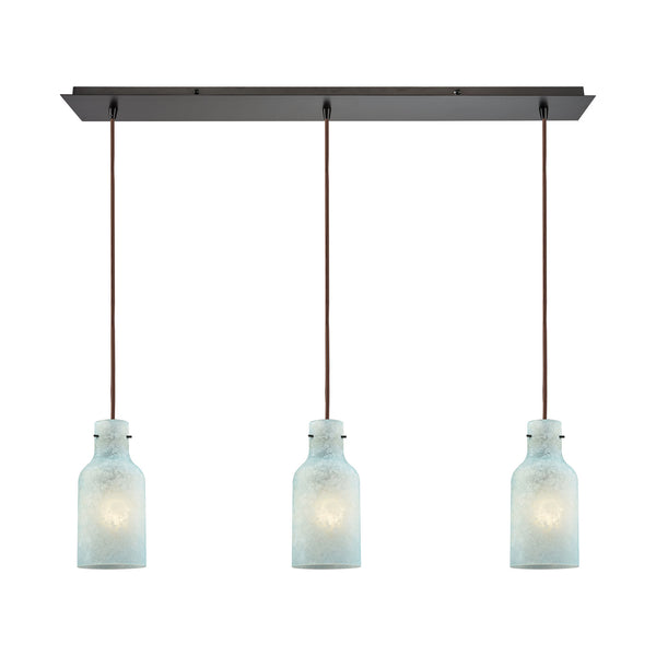 Weatherly 3 Light Linear Pan Pendant In Oil Rubbed Bronze With Chalky Seafoam Glass