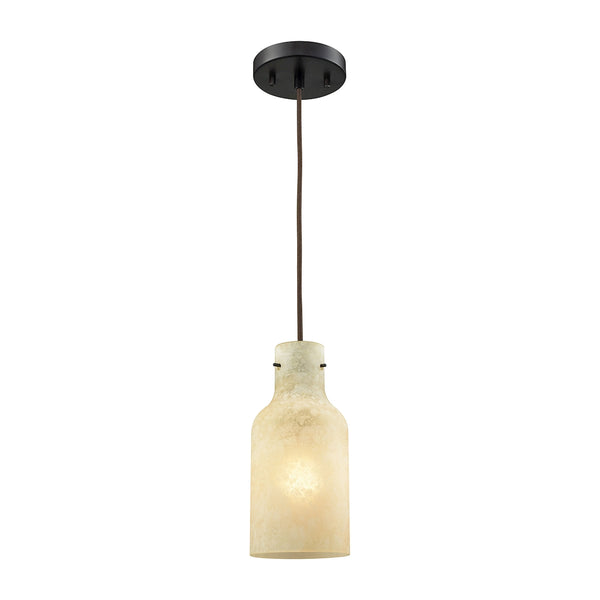 Weatherly 1 Light Pendant In Oil Rubbed Bronze With Chalky Beige Glass  - Includes Recessed Lighting Kit