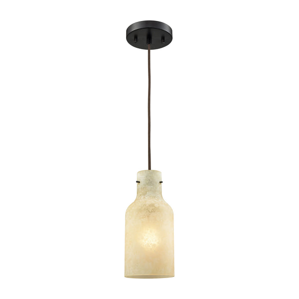 Weatherly 1 Light Pendant In Oil Rubbed Bronze With Chalky Beige Glass