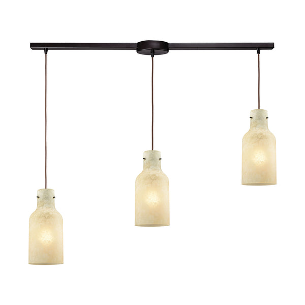 Weatherly 3 Light Linear Bar Pendant In Oil Rubbed Bronze With Chalky Beige Glass