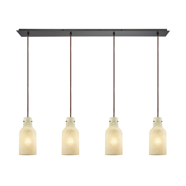 Weatherly 4 Light Linear Pan Pendant In Oil Rubbed Bronze With Chalky Beige Glass
