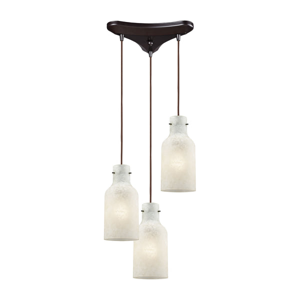 Weatherly 3 Light Triangle Pan Pendant In Oil Rubbed Bronze With Chalky White Glass