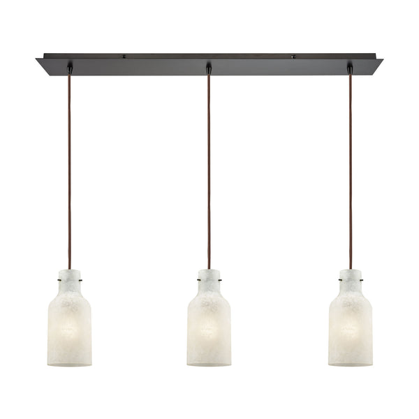 Weatherly 3 Light Linear Pan Pendant In Oil Rubbed Bronze With Chalky White Glass