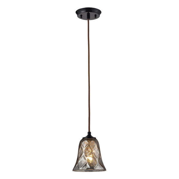 Darien 1 Light Pendant In Oiled Bronze And Mercury Glass